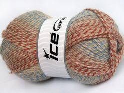 Lot of 4 x 100gr Skeins Ice Yarns PUZZLE WOOL (50% Wool) Yarn Blue Camel Salmon Shades Copper