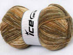 Lot of 4 x 100gr Skeins Ice Yarns JEANS WOOL (50% Wool) Yarn Beige Brown Shades