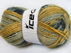 Lot of 4 x 100gr Skeins Ice Yarns JEANS WOOL (50% Wool) Yarn Grey Shades Gold Shades
