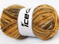 Lot of 4 x 100gr Skeins Ice Yarns JEANS WOOL (50% Wool) Yarn Brown Shades Gold