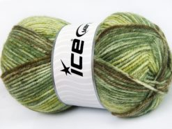 Lot of 4 x 100gr Skeins Ice Yarns JEANS WOOL (50% Wool) Yarn Green Shades Brown