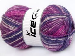 Lot of 4 x 100gr Skeins Ice Yarns JEANS WOOL (50% Wool) Yarn Purple Fuchsia