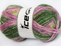 Lot of 4 x 100gr Skeins Ice Yarns JEANS WOOL (50% Wool) Yarn Green Pink Shades