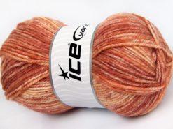 Lot of 4 x 100gr Skeins Ice Yarns JEANS WOOL (50% Wool) Yarn Salmon Shades