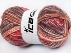 Lot of 4 x 100gr Skeins Ice Yarns JEANS WOOL (50% Wool) Yarn Red Maroon Burgundy Cream