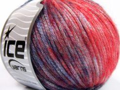 Lot of 8 Skeins Ice Yarns ROCK STAR COLOR (19% Merino Wool) Yarn Red Navy