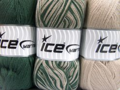 Lot of 3 x 100gr Skeins Ice Yarns BABY OMBRE Hand Knitting Yarn Green Beige