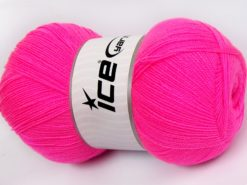 Lot of 4 x 100gr Skeins Ice Yarns KRISTAL Hand Knitting Yarn Neon Pink