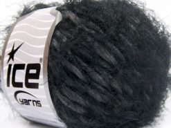 Lot of 8 Skeins Ice Yarns SALE EYELASH (30% Wool) Yarn Black Dark Grey