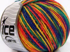 Lot of 8 Skeins Ice Yarns WOOL LIGHT (50% Wool) Yarn Blue Orange Green Yellow