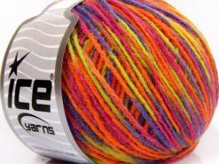 Lot of 8 Skeins Ice Yarns WOOL LIGHT (50% Wool) Yarn Orange Lilac Light Green Pink