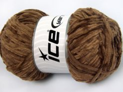 Lot of 4 x 100gr Skeins Ice Yarns CHENILLE LIGHT 100 (100% MicroFiber) Yarn Dark Brown