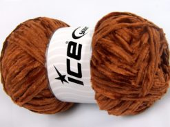 Lot of 4 x 100gr Skeins Ice Yarns CHENILLE LIGHT 100 (100% MicroFiber) Yarn Caramel