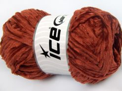 Lot of 4 x 100gr Skeins Ice Yarns CHENILLE LIGHT 100 (100% MicroFiber) Yarn Dark Orange