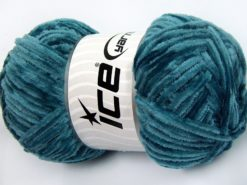 Lot of 4 x 100gr Skeins Ice Yarns CHENILLE LIGHT 100 (100% MicroFiber) Yarn Turquoise