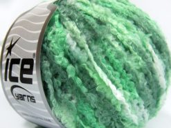 Lot of 8 Skeins Ice Yarns BOUCLE WOOL WORSTED (40% Wool) Yarn Green Shades