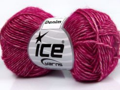 Lot of 8 Skeins Ice Yarns DENIM (80% Cotton) Hand Knitting Yarn Fuchsia