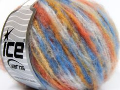 Lot of 8 Skeins Ice Yarns MOHAIR COLOR LIGHT (15% Mohair 10% Wool) Yarn Blue Shades Gold Orange