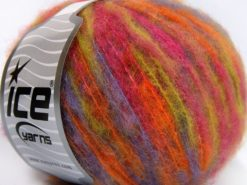 Lot of 8 Skeins Ice Yarns MOHAIR COLOR LIGHT (15% Mohair 10% Wool) Yarn Fuchsia Green Lavender Orange