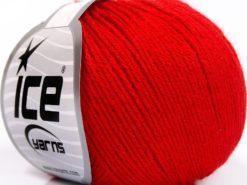 Lot of 8 Skeins Ice Yarns BABY MERINO SOFT (40% Merino Wool) Yarn Red