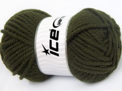 Lot of 4 x 100gr Skeins Ice Yarns ELITE WOOL SUPERBULKY (50% Wool) Yarn Dark Khaki