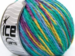 Lot of 8 Skeins Ice Yarns WOOL WORSTED COLOR (50% Wool) Yarn Turquoise Shades Purple Light Green