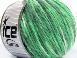 Lot of 8 Skeins Ice Yarns WOOL WORSTED COLOR (50% Wool) Yarn Green Shades