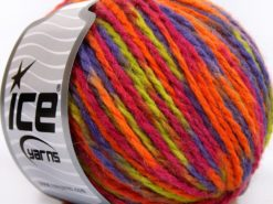Lot of 8 Skeins Ice Yarns WOOL WORSTED COLOR (50% Wool) Yarn Lilac Orange Light Green Fuchsia