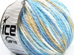 Lot of 8 Skeins Ice Yarns WOOL WORSTED COLOR (50% Wool) Yarn Blue Shades White Camel