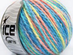 Lot of 8 Skeins Ice Yarns WOOL WORSTED COLOR (50% Wool) Yarn Turquoise Shades Light Salmon Light Green