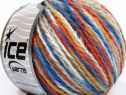 Lot of 8 Skeins Ice Yarns WOOL WORSTED COLOR (50% Wool) Yarn Blue Shades Orange Gold