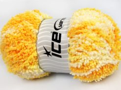 Lot of 4 x 100gr Skeins Ice Yarns BABY PUFFY Yarn Light Yellow Gold White