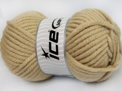 Lot of 2 x 200gr Skeins Ice Yarns SUPERWASH WOOL JUMBO (25% Superwash Wool) Yarn Dark Beige