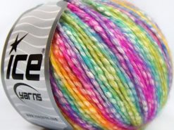 Lot of 8 Skeins Ice Yarns COTTON PASTEL (77% Cotton) Yarn Lilac Fuchsia Turquoise Green
