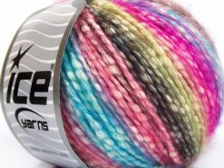 Lot of 8 Skeins Ice Yarns COTTON PASTEL (77% Cotton) Yarn Turquoise Pink Shades Green Shades