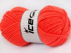 Lot of 4 x 100gr Skeins Ice Yarns WOOL CHUNKY (30% Wool) Yarn Neon Orange