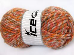 Lot of 2 x 200gr Skeins Ice Yarns SUPERWASH WOOL JUMBO (25% Superwash Wool) Yarn Orange Shades Camel Beige