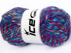 Lot of 2 x 200gr Skeins Ice Yarns SUPERWASH WOOL JUMBO (25% Superwash Wool) Yarn Blue Shades Fuchsia