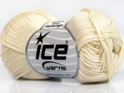 Lot of 6 Skeins Ice Yarns COTTON FINE MELANGE (100% Mercerized Cotton) Yarn Cream