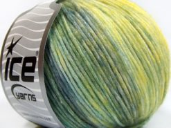 Lot of 8 Skeins Ice Yarns ROCK N ROLL (15% Wool 50% Modal) Yarn Green Shades Yellow