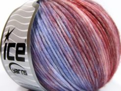 Lot of 8 Skeins Ice Yarns ROCK N ROLL (15% Wool 50% Modal) Yarn Burgundy Shades Lilac Shades