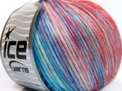 Lot of 8 Skeins Ice Yarns ROCK N ROLL (15% Wool 50% Modal) Yarn Turquoise Shades Red Shades