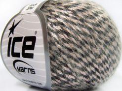 Lot of 8 Skeins Ice Yarns ROCK STAR (19% Merino Wool) Yarn Beige Black
