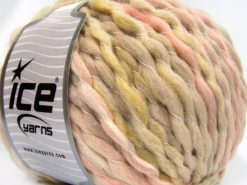Lot of 2 x 150gr Skeins Ice Yarns ALPACA COLOR JUMBO (15% Alpaca 15% Wool) Yarn Beige Light Pink Light Green