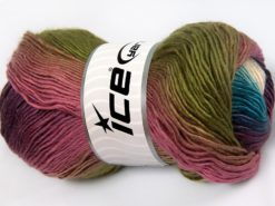 Lot of 4 x 100gr Skeins Ice Yarns RAINBOW Yarn Purple Turquoise Green Orchid