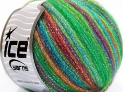 Lot of 8 Skeins Ice Yarns PARIS (30% Wool) Yarn Green Shades Fuchsia Turquoise Purple