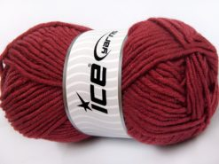 Lot of 4 x 100gr Skeins Ice Yarns MERINO CHUNKY (50% Merino Wool) Yarn Light Burgundy