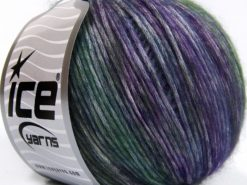 Lot of 8 Skeins Ice Yarns ROCK N ROLL (15% Wool 50% Modal) Yarn Purple Shades Green Shades