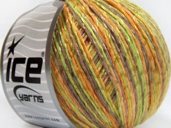 Lot of 4 x 100gr Skeins Ice Yarns SUMMER (70% Mercerized Cotton 30% Viscose) Yarn Camel Green Gold