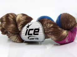 Lot of 4 x 100gr Skeins Ice Yarns HAND DYED SOCK YARN (75% SuperWash Wool) Yarn Brown Cream Pink Blue